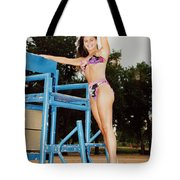 Beautiful Brunette Model At The Beach Tote Bag