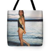 Beautiful Brunette On The Beach Tote Bag