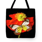 Beautiful Butterfly On Poppy Tote Bag