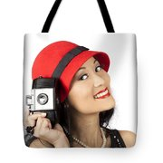 Beautiful Chinese Woman Holding Old Film Camera Tote Bag