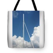 Beautiful Day At The Marina - Mast And Clouds - Color Tote Bag
