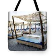 Beautiful Designed Sunbeds At Sunset Tote Bag