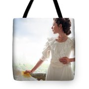 Beautiful Edwardian Woman In The Garden Tote Bag