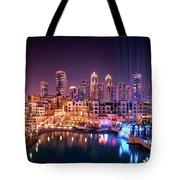 Beautiful Famous Downtown Area In Dubai At Night, Dubai, United Arab Emirates Tote Bag