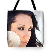 Beautiful Girl Holding A Cockle Shell Tote Bag