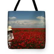 Beautiful Lady And Red Poppies Tote Bag