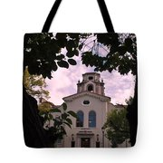 Beautiful Mason Hall - Pomona College - Trees Framing Tote Bag