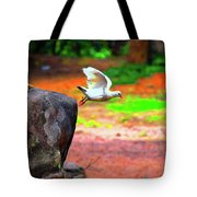 Beautiful Moment With A Bird Take Off , Wall Frame, Art Tote Bag