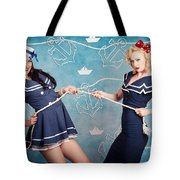 Beautiful Navy Pinup Girls On Marine Background Tote Bag