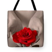 Beautiful Nude Woman Holidng Red Rose Tote Bag