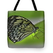 Beautiful Paper Kite Butterfly On A Green Leaf Tote Bag