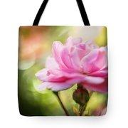 Beautiful Pink Rose Blooming In Garden With Natural Bokeh Tote Bag