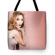 Beautiful Portrait Of 1950 Model Girl In Pin Up Tote Bag