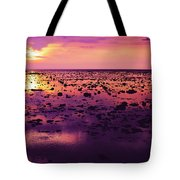 Beautiful Purple Sunset During Tide Shows Up Rocky Beach Tote Bag