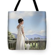 Beautiful Regency Woman Admiring The View From The Terrace Tote Bag