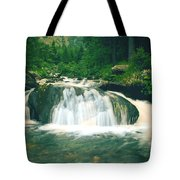 Beautiful River Flowing In Mountain Forest Tote Bag