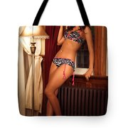 Beautiful Sexy Woman At A Window Tote Bag