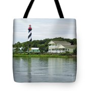 Beautiful St Augustine Lighthouse Waterfront Tote Bag
