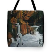 Beautiful Swans Moving In The River Path Tote Bag