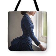 Beautiful Victorian Woman At The Window In A Blue Bussle Dress Tote Bag