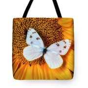 Beautiful White Butterfly On Sunflower Tote Bag
