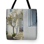 Beautiful White Mediterranean Architecture With Blue Frames. Tote Bag