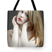 Beautiful White Woman On Red Chair Tote Bag