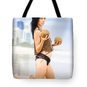 Beautiful Woman In Beach Heaven Tote Bag