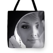 Beautiful Woman In Bridal Veil Looking At A Mirror Tote Bag