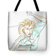 Beautiful Woman, Reclining -- Portrait Of Woman On Floor Tote Bag