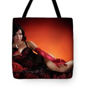 Beautiful Woman With A Glass Of Wine Tote Bag