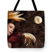 Beautiful Woman With Colorful Hair Extensions Tote Bag