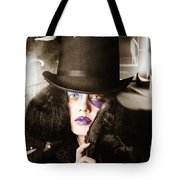 Beautiful Woman With Dark Hairstyle And Makeup Tote Bag