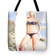 Beautiful Young Blond Surf Woman Tote Bag