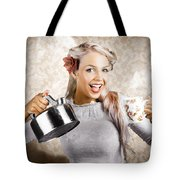 Beautiful Young Retro Woman With Cup Of Coffee Tote Bag