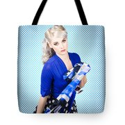 Beautiful Young Woman Holding Sunglasses And Scarf Tote Bag