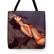 Beautiful Young Woman In Orange Bikini Tote Bag
