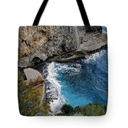 Beautifully Carved Out Swimming Deck On The Edge Of The Sea On The Amalfi Coast In Italy  Tote Bag