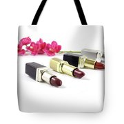Beauty And Esthetics Care. Lipsticks And Flowers Tote Bag