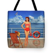 Beauty From The 50s In Bikini  Tote Bag