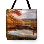 Beauty Of The Lake In Autumn Deep Tones Tote Bag