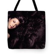 Beauty Portrait Of Woman Surrounded By Long Brown Hair  Tote Bag