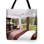 Bedroom With Brown And Cream Theme Tote Bag