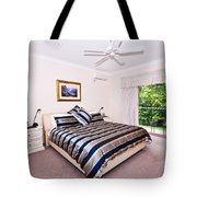 Bedroom With Silver And Blue Linen Tote Bag