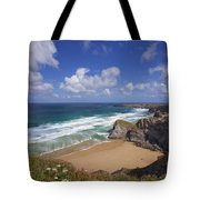 Bedruthan Steps Beach And Atlantic Surf In Summer Sun Cornwall  Tote Bag