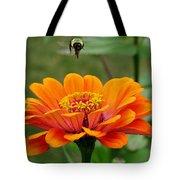 Bee Above Orange Zinnia Tote Bag