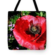 Bee And Red Poppy Tote Bag