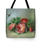 Bee And Roses On A Table Tote Bag