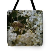 Bee And Small White Blossoms 2 Tote Bag