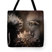 Bee Approaching Red Clover Blossom Tote Bag